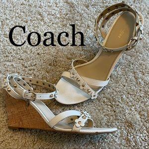 Coach Cream Floral Rivots Wedge Sandals 9
